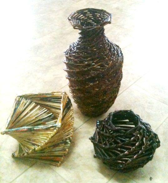 плетенка из бумаги вазы
