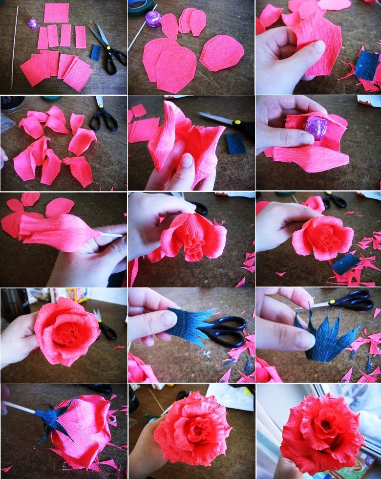 Розы из гофрированной бумаги своими руками пошаговая 44